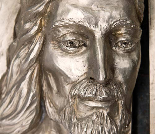 Detail of the face of Christ on the Holy Door
